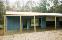 30x50x10, 12\' lean-to, Hawaiian blue walls, white roof and trim