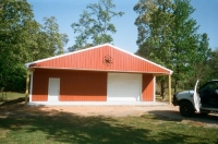 30x40x10, 10\' extended roof line, rustic red walls white trim and roof